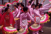 Canada, vancouver, british columbia, new year, chinese new year, celebration, celebrations, festival, festivals, dancer, dancers, dance, dances, dancing, costume, costumes, fan, fans.
