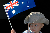 Australia, australian, nsw, new South Wales, sydney, child, children, baby, babies, flag, flags, australian flag, australian flags, hat, hats, anzac day, anzac days, anzac day parade, anzac day parades.
