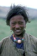 Asia, Asian, China, Chinese, people, Tibet, Tibetan, nomad, nomads, nomadic, child, children, girl, girls, female, females, jewellery, necklace, necklaces, earring, earrings, smile, smiles, smiling, happy, happiness.