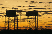 Australia, New South Wales, sunset, sunsets, sunrises and sunsets, mood, mood scene, mood scenes, silhouette, silhouettes, cloud, clouds, tank, tanks, water tank, water tanks, water, rural, rural scene, rural scenes, tower, towers.