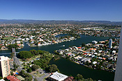 Australia, qld, queensland, surfers, surfers paradise, gold coast, canal, canals, house, houses, housing.