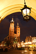 Poland, Cracow, krakow, architecture, church, churches, religion, religious, religious building, religious buildings, hall, halls, cloth, cloth hall, st mary, saint mary, church of st mary, church of saint mary, saint, saints, arch, arches, archway, archways, lamp, lamps, light, lights, lighting, street lamp, street lamps, street light, street lights, street lighting, FF25,