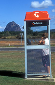 Australia, qld, queensland, glasshouse mountains, glass house, glass house mountains, communication, communications, telephone, telephones, telephone box, telephone boxes, people, woman, women, female, females, outdoors.