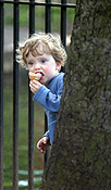 People, child, Children, female, females, girl, girls, ice-cream, ice-creams, icecream, icecreams, child eating, children eating, ice cream, ice creams, outdoors, tree, trees, fence, fences, PJ38,