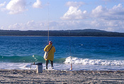 Australia, qld, queensland, people, man, men, male, males, outdoors, Sport pictures, Sports, fishing, fisherman, fishermen, beach, beaches, coast, coasts, coastline, coastlines, water, sand.