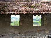 Europe, Switzerland, Swiss, Gruyeres, village, villages, rural, rural scene, rural scenes, wall, walls, roof, roofs, rooves, wall, walls, window, windows, architecture.