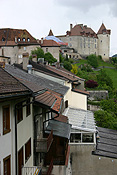 Europe, Switzerland, Swiss, Gruyeres, village, villages, architecture, gruyeres castle, castle, castles, fortress, fortresses, house, houses, housing, roof, roofs, rooves.