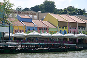 Singapore, architecture, clarke quay, café, cafes, river, rivers, boat, boats, boating, transport, transportation, vehicle, vehicles, umbrella, umbrellas, water.
